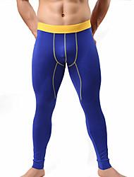 abordables -Hombre Microelástico Sólido Medio Long Johns,Algodón 1pc Negro Naranja Rojo Amarillo Azul Real