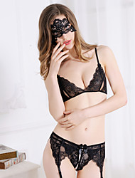cheap -Women's Garters T-back & Bundled Bra Lace Lingerie Ultra Sexy Nightwear Without Vizard Mask and Silk Stockings