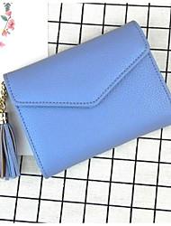 cheap -Women Bags PU Wallet Buttons Tassel for Casual All Season Black Blushing Pink Gray Light Purple Sky Blue