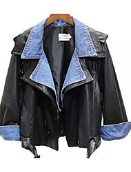 Women's Casual/Daily Street chic Fall Winter Leather Jacket,Solid V Neck Long Sleeves Short Synthetic Leather