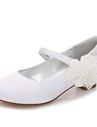 cheap -Girls' Shoes Satin Spring / Fall Comfort / Ballerina / Ankle Strap Heels Beading / Imitation Pearl / Appliques for White / Ivory