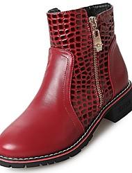 preiswerte -Damen Schuhe PU Winter Komfort Modische Stiefel Stiefel Niedriger Heel Runde Zehe Für Normal Schwarz Rot