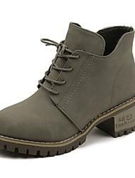 baratos -Mulheres Sapatos Courino Primavera Inverno Botas da Moda Botas Salto Alto Peep Toe Botas Curtas / Ankle para Preto Khaki