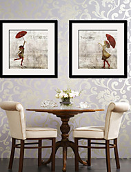 cheap -Vintage People Framed Canvas Framed Set Wall Art,PVC Material With Frame For Home Decoration Frame Art Living Room Kitchen Dining Room