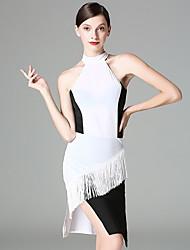 cheap -Latin Dance Dresses Women's Performance Ice Silk Tassel(s) Sleeveless Dress