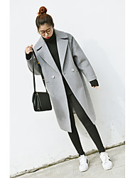 cheap -Women's Daily Street chic Fall Coat,Solid Notch Lapel Long Sleeves Long Others