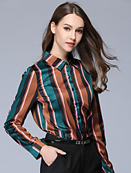 cheap -Maxlindy Women's Daily Going out Vintage Fall Fall/Autumn Shirt,Striped Color Block Shirt Collar Long Sleeves 100% Polyester Thin