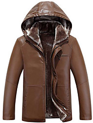 cheap -Men's Daily Simple Casual Winter Leather Jackets,Solid Shirt Collar Long Sleeves Short Lambskin