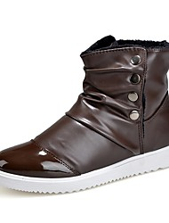 cheap -Men's Shoes PU Winter Fashion Boots Boots Mid-Calf Boots For Casual Brown Black White