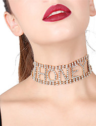 Women's Hot Fix Choker Necklaces Rhinestone Geometric Alloy Sexy Statement Jewelry Jewelry For Party Gift