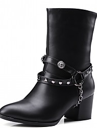 cheap -Women's Shoes PU Leatherette Winter Comfort Novelty Fashion Boots Boots Pointed Toe Booties/Ankle Boots Chain For Party & Evening Dress