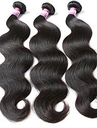 economico -Brasiliano Ondulato naturale Capello vergine Ciocche a onde capelli veri 3 pacchetti Tessiture capelli umani Nero Naturale Estensioni dei capelli umani