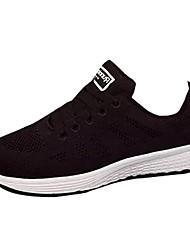 preiswerte -Damen Schuhe PU Frühjahr, Herbst, Winter, Sommer Komfort Sportschuhe Rennen Runde Zehe Schnürsenkel Für Sportlich Normal Schwarz Blau