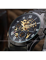WINNER Men's Dress Watch Wrist watch Mechanical Watch Automatic self-winding Hollow Engraving Stainless Steel Band Luxury Casual Black
