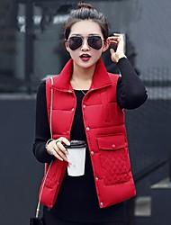 Dámské Krátké Dlouhý kabát Jednoduchý Jdeme ven Jednobarevné-Kabát Šetrný k životnímu prostředí Polyester Bez rukávů