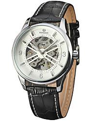 abordables -Hombre Reloj de Vestir Reloj de Pulsera Chino Cuerda Automática Huecograbado Piel Banda Vintage Elegant Negro