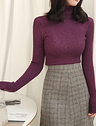 Corto Pullover Da donna-Casual Tinta unita Dolcevita Manica lunga Acrilico Autunno Inverno Medio spessore Elasticizzato