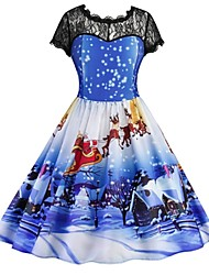 cheap -Female Christmas Dress Cosplay Blue Short Sleeves