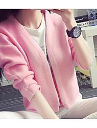 Corto Cashmere Da donna-Per uscire Casual Tinta unita A V Mezza manica Cashmere Cotone Autunno Inverno Medio spessore Media elasticità