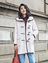 Women's Casual/Daily Simple Fall Winter Coat,Color Block Hooded Long Sleeves Long Wool