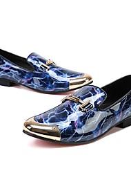 abordables -Homme Chaussures Cuir Hiver Automne Nouveauté Confort Oxfords Motif Animal pour Mariage Soirée & Evénement Bleu royal Bourgogne