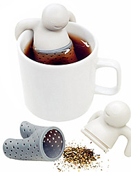cheap -1Pc Cute Mr.Tea Bag Teabag Silicone Tea Leaf Strainer Infuser Bag Teapot Filter Drinkware Little Man Shape