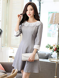 Women's Party Work Simple Vintage A Line Dress,Solid Round Neck Knee-length 3/4 Sleeve Rayon Polyester Spandex Fall Winter Mid Rise