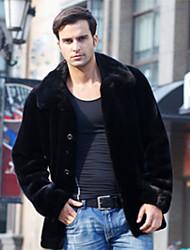 cheap -Men's Street chic Faux Fur Fur Coat-Solid Colored Shirt Collar