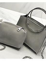 preiswerte -Damen Taschen PU Bag Set 2 Stück Geldbörse Set Reißverschluss für Normal Ganzjährig Schwarz Rosa Grau Hell Gray