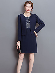 Women's Daily Chinoiserie Spring Fall Set Skirt Suits,Solid Round Neck Long Sleeves Polyester