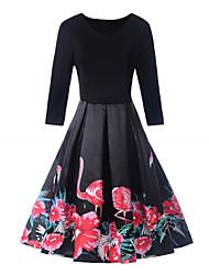 cheap -Women's Party Sexy Swing Dress,Animal Print Round Neck Midi Long Sleeves Cotton Medium Waist Micro-elastic Medium