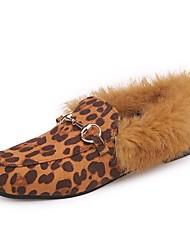 Femme Chaussures Cachemire Hiver Confort Mocassins et Chaussons+D6148 Bout rond Pour Décontracté Noir Marron