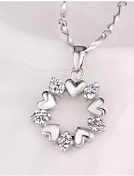 cheap -Women's Heart Synthetic Diamond Pendant Necklace - Classic Sweet Flower Heart Silver Necklace For Daily