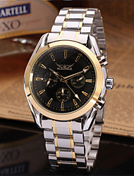 cheap -Jaragar Men's Automatic self-winding Wrist Watch Casual Watch Stainless Steel Band Casual Dress Watch Fashion Cool Black