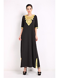 cheap -Women's Daily Abaya Dress,Solid Round Neck Maxi Half Sleeves Polyester Winter Fall/Autumn Mid Rise Micro-elastic Medium