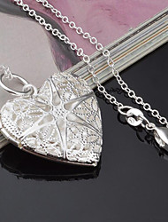 cheap -Women's Heart Silver Plated Pendant Necklace - Fashion Heart Silver Necklace For Other Gift