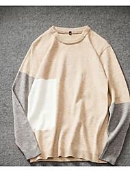Herrer I-byen-tøj Afslappet/Hverdag Lang Pullover Farveblok,Rund hals Langærmet Polyester Forår Efterår Tyk Mikroelastisk