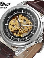 levne -WINNER Pánské Náramkové hodinky Hodinky k šatům Módní hodinky Automatické natahování S dutým gravírováním Kůže Kapela Vintage Na běžné