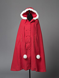 abordables -Cape de Lolita Princesse Laine Femme Adulte Fille Manteau Cosplay Rouge Manches Longues