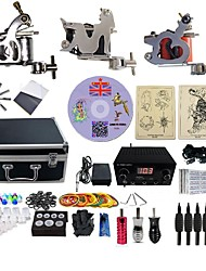 cheap -Tattoo Machine Professional Tattoo Kit 3 steel machine liner & shader High Quality LED power supply 2 x aluminum grip 4 x disposable grip