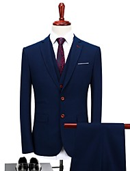 cheap -Dark Blue Plaid/Checkered Standard Fit Polyester Suit - Peaked Lapel Turndown Single Breasted One-button