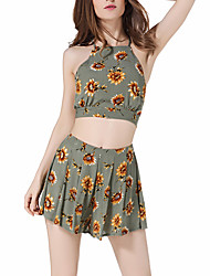 cheap -Women's Daily / Going out Casual Cotton Short Blouse - Floral / Color Block Pant Halter Neck / Spring / Summer
