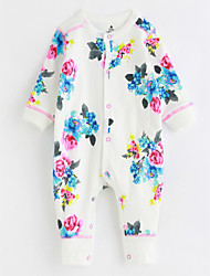 cheap -Baby Patterned One-Pieces,Cotton Fall/Autumn Long Sleeves White