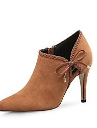 Недорогие -Жен. Обувь Бархатистая отделка Зима Осень Модная обувь Ботинки На шпильке Заостренный носок Ботинки Бант для Свадьба Для вечеринки / ужина