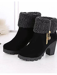 cheap -Women's Shoes Rubber Fabric Winter Fall Fashion Boots Boots Low Heel Mid-Calf Boots for Casual Black Wine