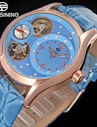 FORSINING Women's Fashion Watch Dress Watch Wrist watch Automatic self-winding Hollow Engraving Compass Leather Band Vintage Casual Blue