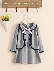 cheap -Girl's Sport School Solid Dress,Cotton Polyester Long Sleeves Cute Casual Princess Navy Blue Gray