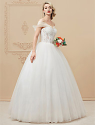 Ball Gown Off-the-shoulder Floor Length Lace Tulle Wedding Dress with Crystal Appliques Sequined by LAN TING BRIDE®