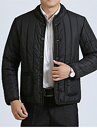 cheap -Men's Regular Padded Coat,Vintage Casual Daily Plus Size Solid Striped-Eco-friendly Polyester Long Sleeves