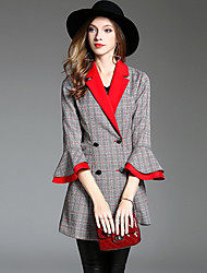 cheap -YHSP Women's Daily Going out Simple Casual Street chic Sophisticated Winter Fall Blazer,Houndstooth Regular Polyester